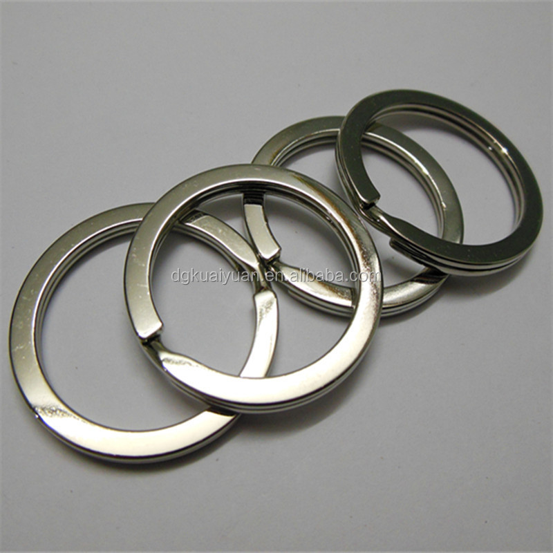 Wholesale quality different sizes custom flat metal key ring keyring