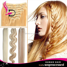 alibaba express qingdao 8A raw wholesale brazilian hair clip in 22 inch human hair weave extension