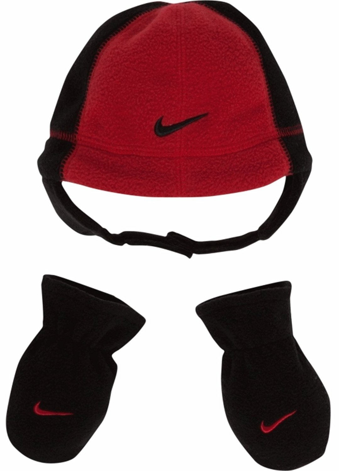 b217c6d1b69 Get Quotations · Nike Swoosh Logo Baby Boy s 12 24 Fleece Beanie Hat   Mittens  Set