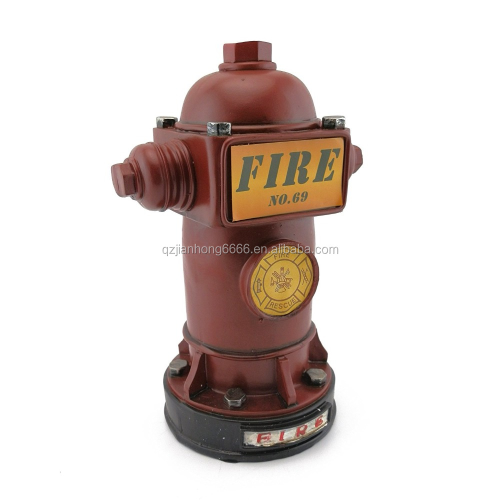 Jianhong Cheap Resin Red Fire Hydrant Money Box Piggy Bank