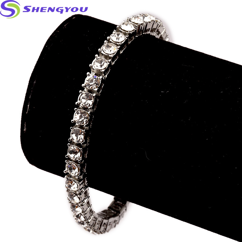 Bling 1 Row Iced Out Jewelry Hip Hop Cuban Gold Chain Mens Bracelets