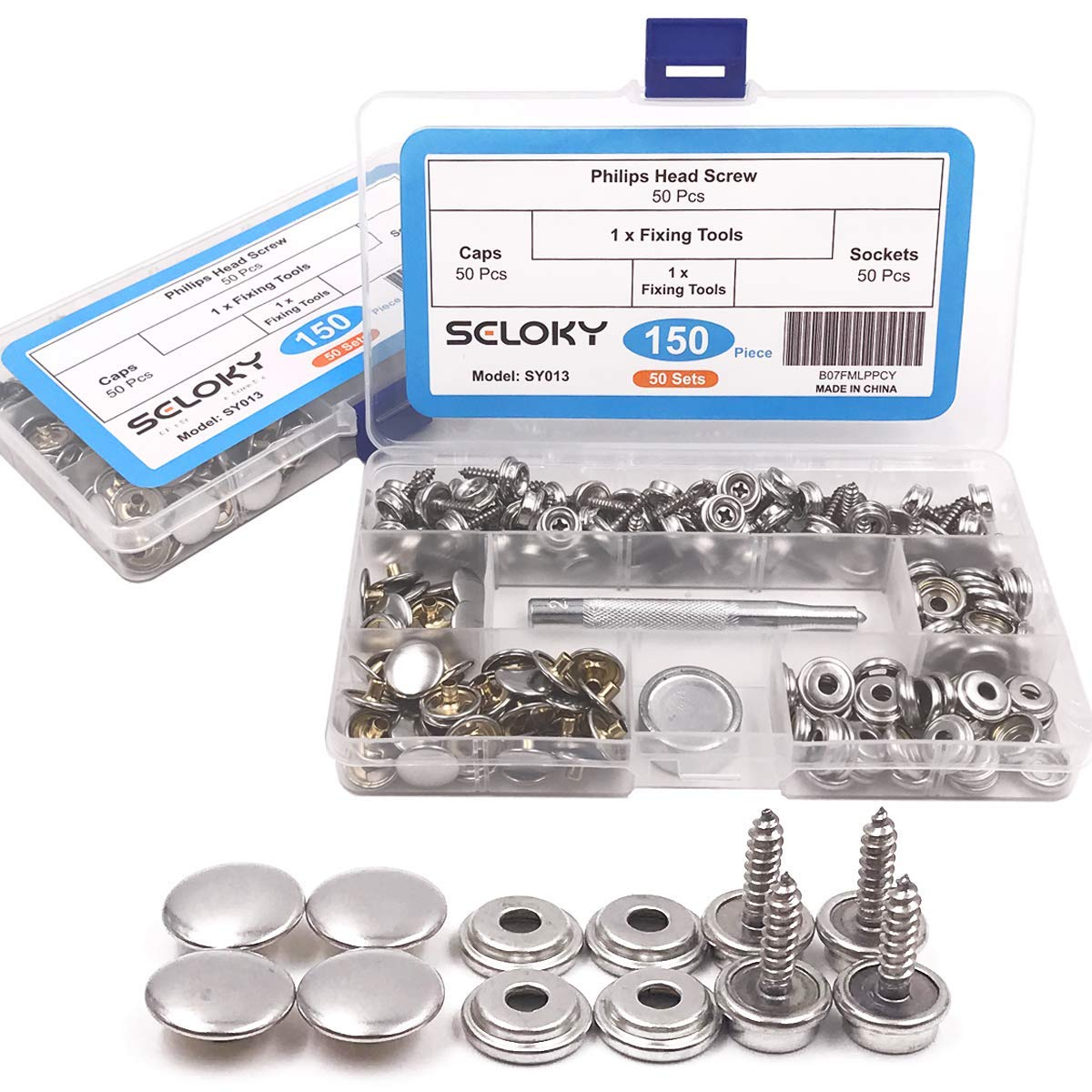 """100 PRO Stainless Steel Screw in Canvas Snap Studs 50 each of 3//8/"""" and 5//8/"""""""