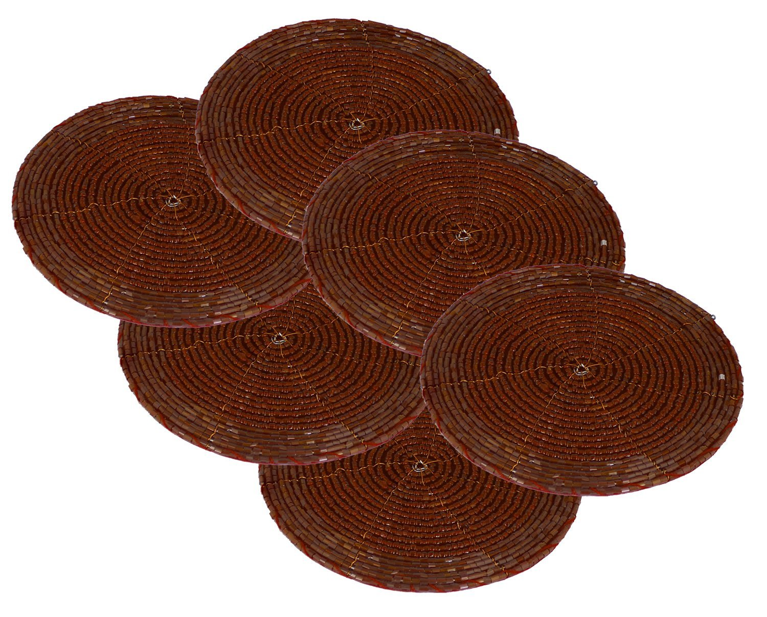 SKAVIJ Table Coasters Set Kitchen Pack of 6 Table Décor Beaded Round Brown Coaster Handmade - 4 Inch