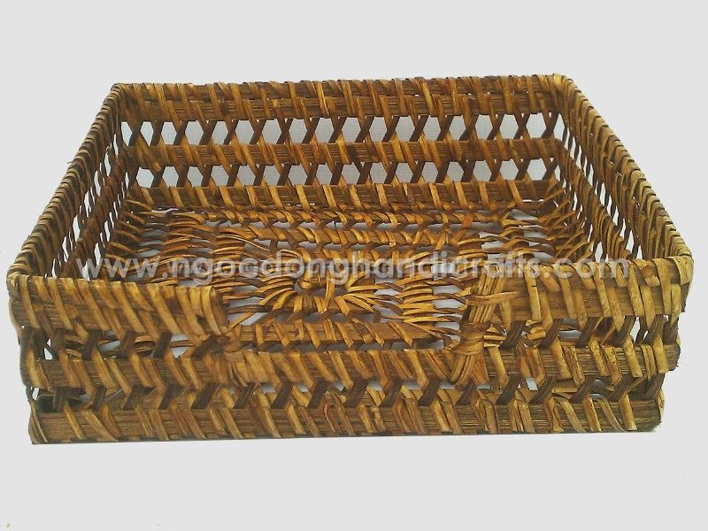 Rect rattan towel holder made by hand from Viet Nam