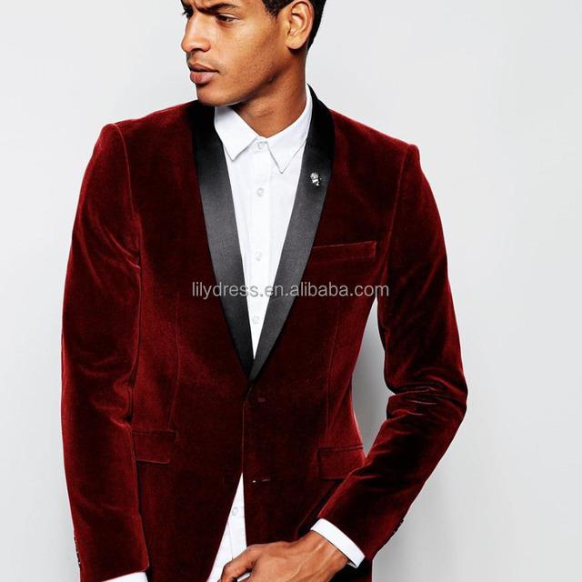 WB158 2017 de terciopelo Burdeos Slim Fit Hombre Trajes personalizados chal  hecho solapa esmoquin de novio 9f029332e5a