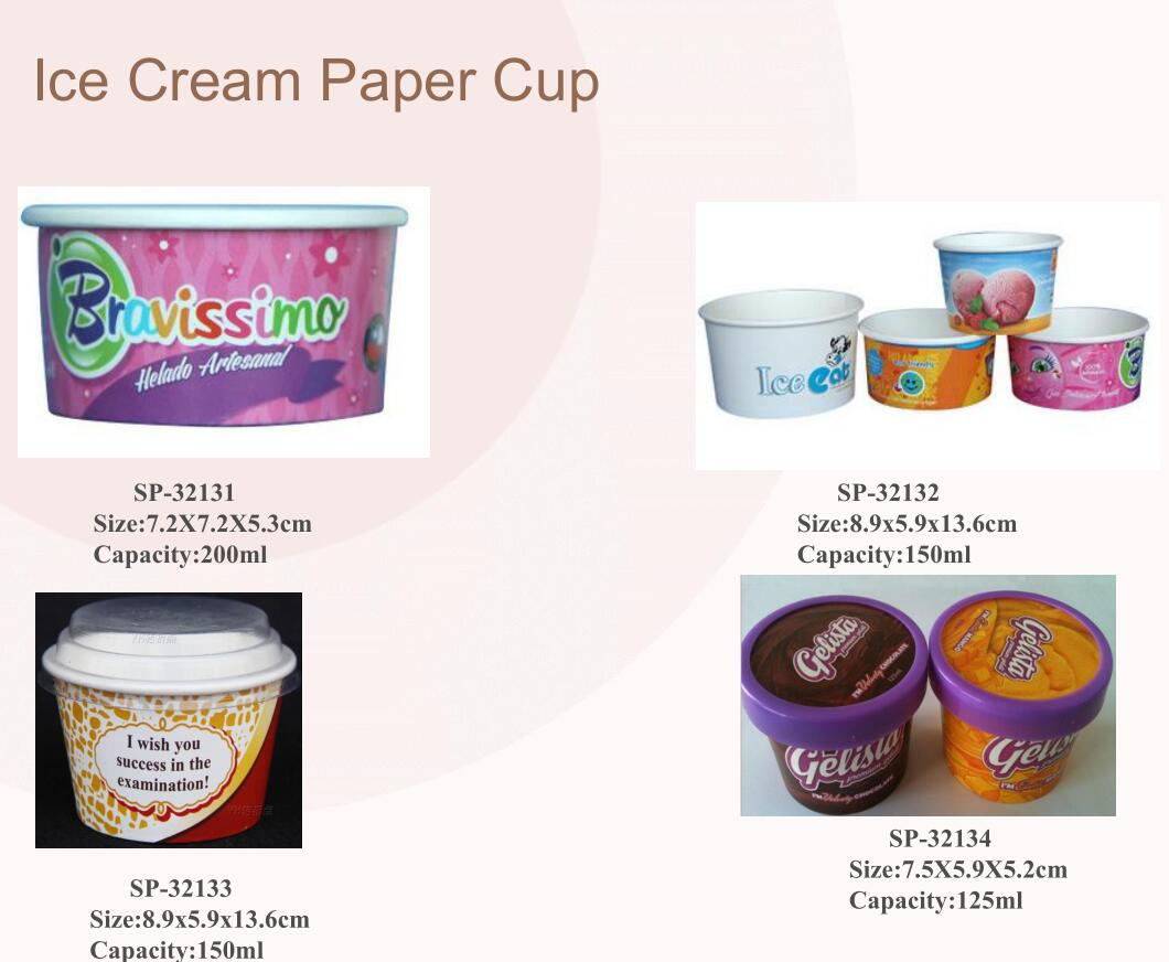 Personalizado Impresso Frozen Yogurt & Ice Cream Copo de Papel, recipientes de resma de gelo do copo de papel