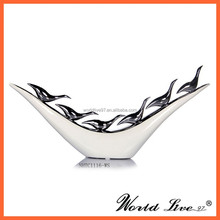 NHTC1116-WS New White Silver Home Decoration Abstract Ceramic Birds