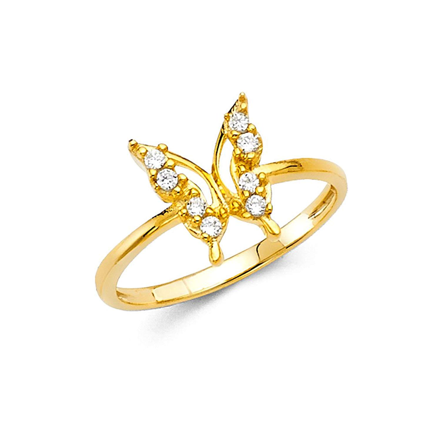 Paradise Jewelers 14K Solid Yellow Gold Large Butterfly Cubic Zirconia Fancy Ring