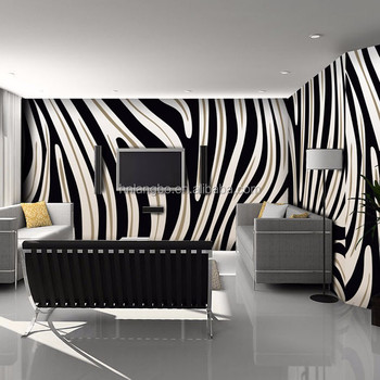 3d Zebra Stripe Mural Living Room Sofa Tv Background Wall Coffee