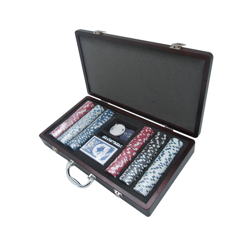 Poker Chip Set voor Texas Houder Blackjack Gokken met Carrying hout Case Kaarten Knoppen Dice Casino Chip door Handelsmerk Poker
