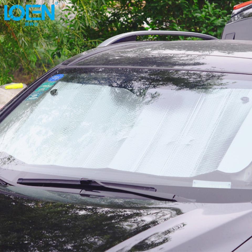 locen 2 size zilver gesoleerde auto voorruit zonnescherm gordijnen auto