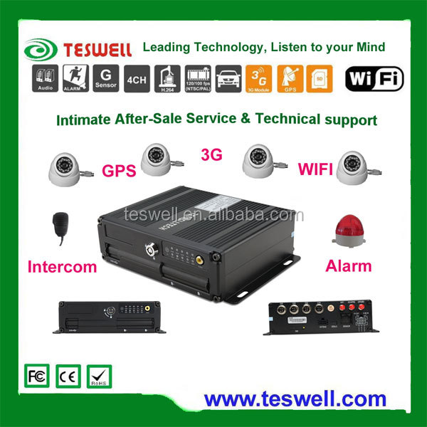 Teswell TS-820 series dvr 4ch with SD card dual stream mobile dvr records