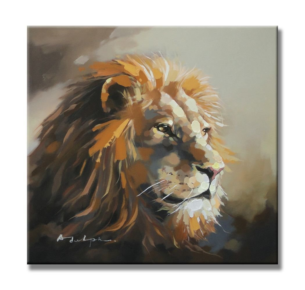 """Sunflower Art the Overlooking Lion Animal Paintings 100% Handpainted Canvas Oil Paintings Wood Stretched Home Decor Ready To Hang 24x24"""" (60x60cm)"""