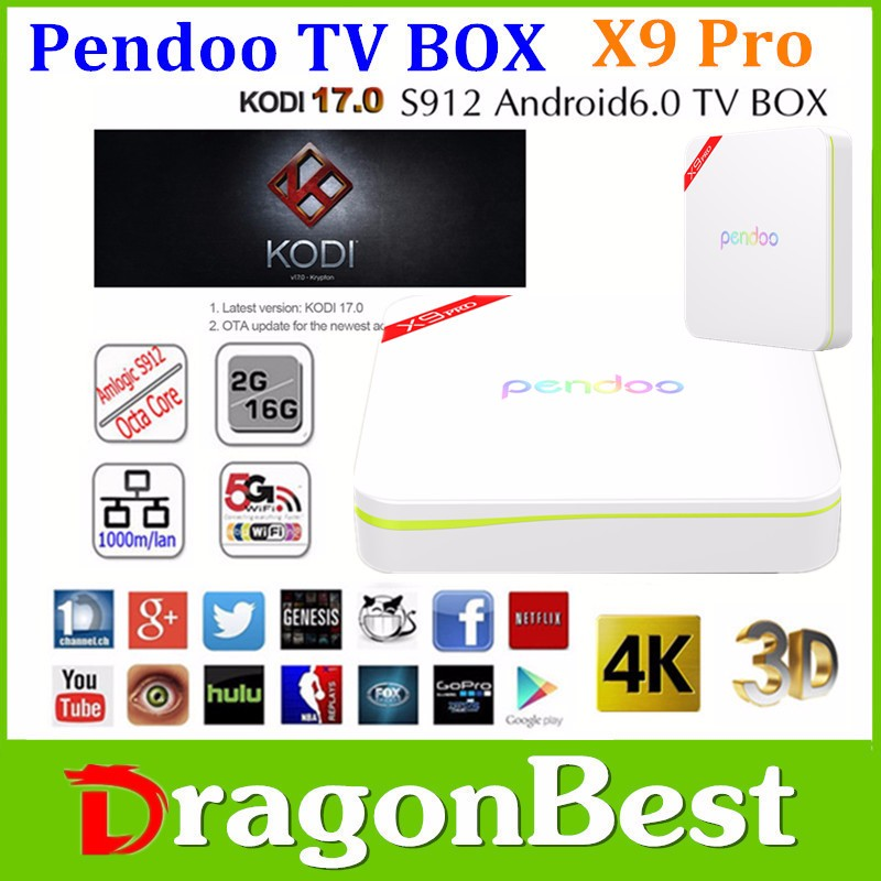 Pendoo T95U PRO TV Box With Google Play Store App Download Android 6.0 TV Box Amlogic S912 Radio & TV Broadcasting Equipment