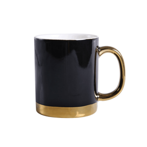 Simple Ceramic Coffee Cup and Mugs with Golden Handle Creative Couple Mugs Custom Logo Golden Line Ceramic Coffee Cup and Mugs