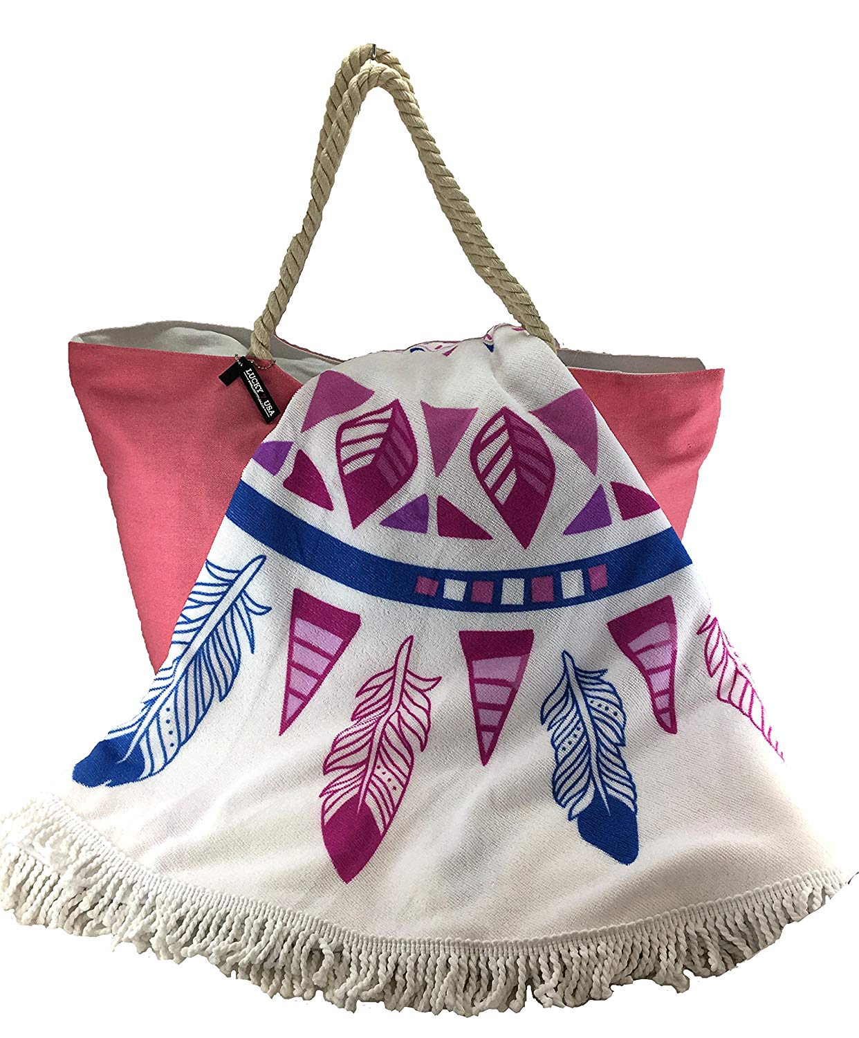 49ec0c51e008be Get Quotations · Large Round Beach Towel Feather Dream-catcher and Pink  Canvas Beach Bag with Zipper Set