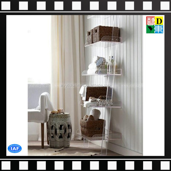 Acrylic Leaning Bookshelf Display BookcaseClear Storage Tray Shelves For Home