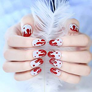 24pcskit short press on nails red strawberry design cream false nail tips white full