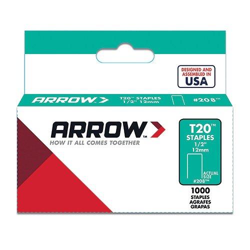 Arrow Fastener 208 Genuine T20 1/2-Inch Staples, 1,000 per Pack