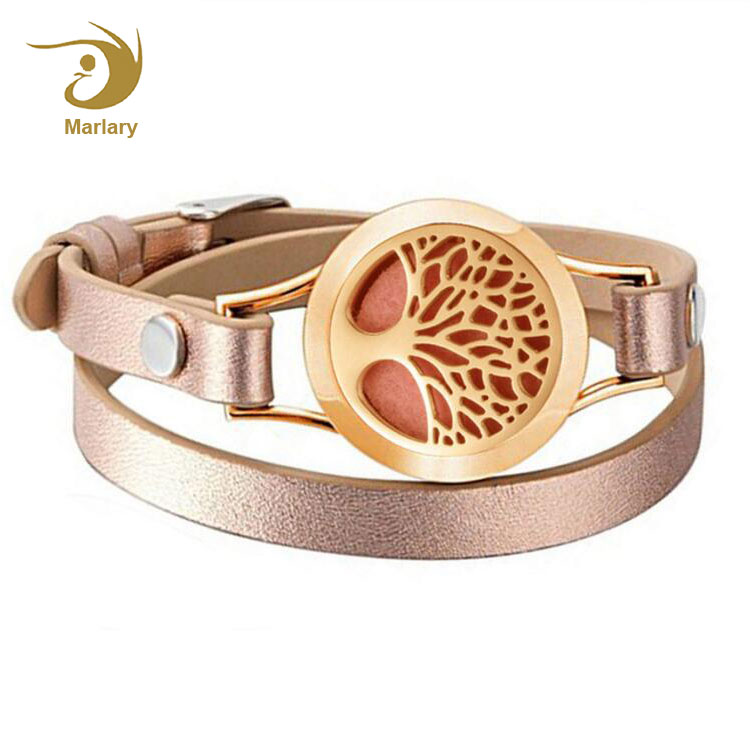 New Gold Bracelet Designs Stainless Steel Aroma Locket Pendant Essential Oil Diffuser Jewelry