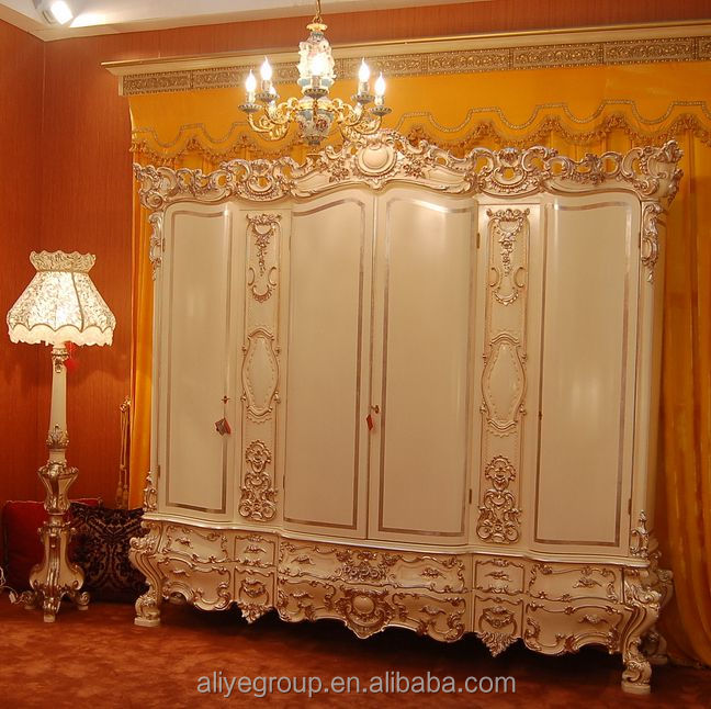 W2007-1-Top Quality Wood Carved French Baoque King Size Bed Room Set / Wardrobe