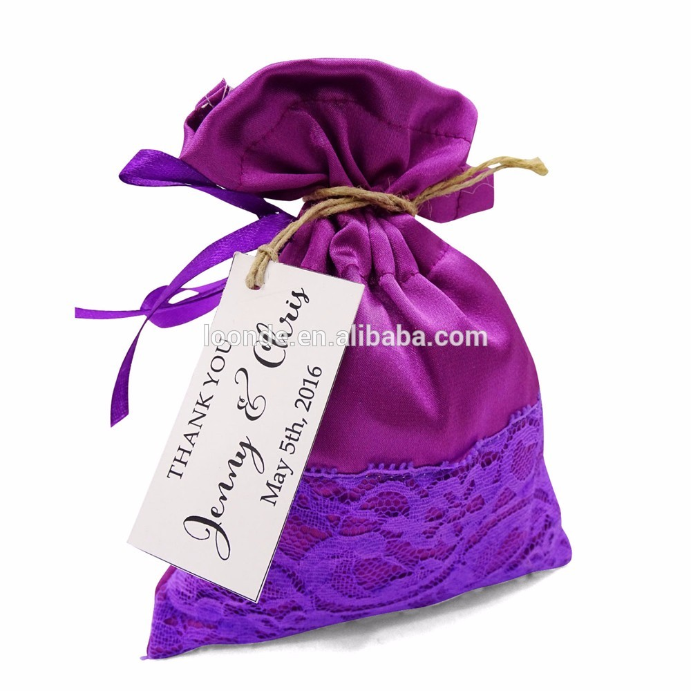 Charming satin wedding lace party favor drawstring bags with custom tag