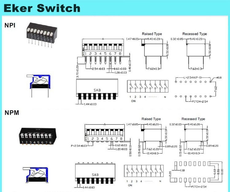 8 pin 4 pole smt piano dip switch for film scanner, View dip piano