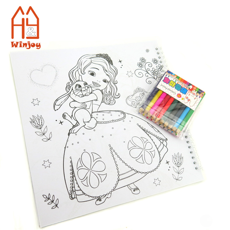 Wholesale Custom Coloring Book With 8 Pack Mini Color Pencil Crayons Drawing Book For Kids Adults Buy Custom A4 Or A5 Size Spiral Coloring Book
