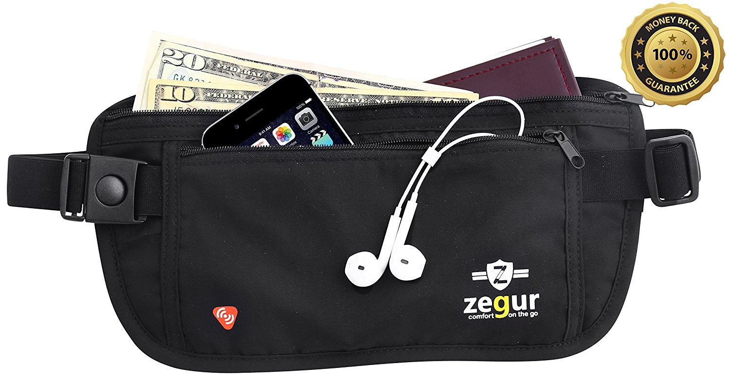 SUPER SPECIAL Zegur Tm Money Belt Lightweight Undercover Waist Pouch - With RFID BLOCKING TECHNOLOGY Sleeves, Best to Protect Yourself From Travel Theft - Wallet Stash Made From Special ANTI SWEAT Cotton Material for Breathable & Moisture-wicking - Elastic Belt with Adjustable Buckles - 2 Zippered