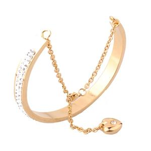 Two Row Crystal Rhinestone Diamond Rose Gold Bracelet For Women Heart Charm Cuff Love Bracelets Round Bangle