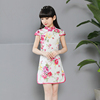 Modern Vintage Cotton Tang Suit qipao Kid Cheongsam Dress Red