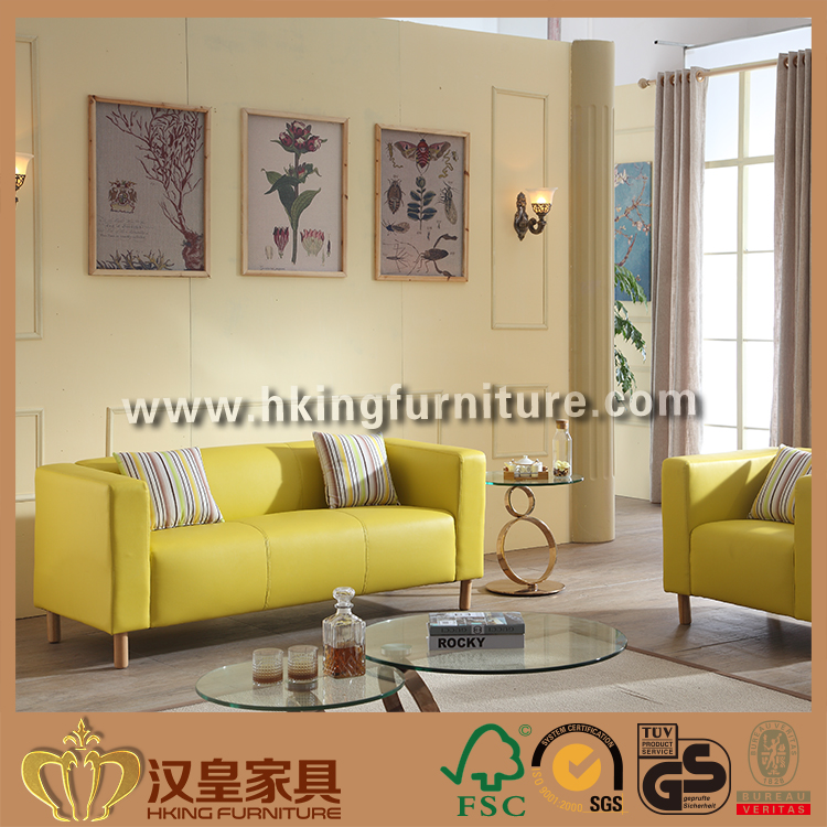 Simple Design Light Yellow Salon Furniture Waiting Sofa With Wood Base