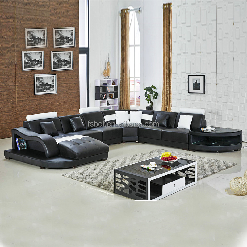 Home furniture living room u shape sofa modern sectional leather couch 2217