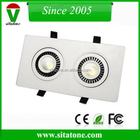 adjustable square 2 cob 14w recessed led down light 6000k