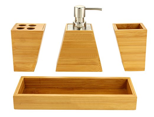 High Quality Bamboo Bathroom Set With Toothbrush Holder 5
