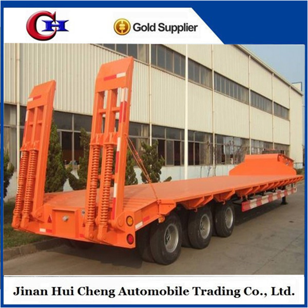 China Manufacturer High Quality Tri-axle 80T Low Bed Semi Trailer For Sale Used Steel Coil Transport