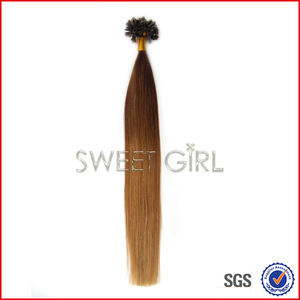 Ombre color two tone color 8/18 Flat-tip bonded hair extension in hard Italian keratin