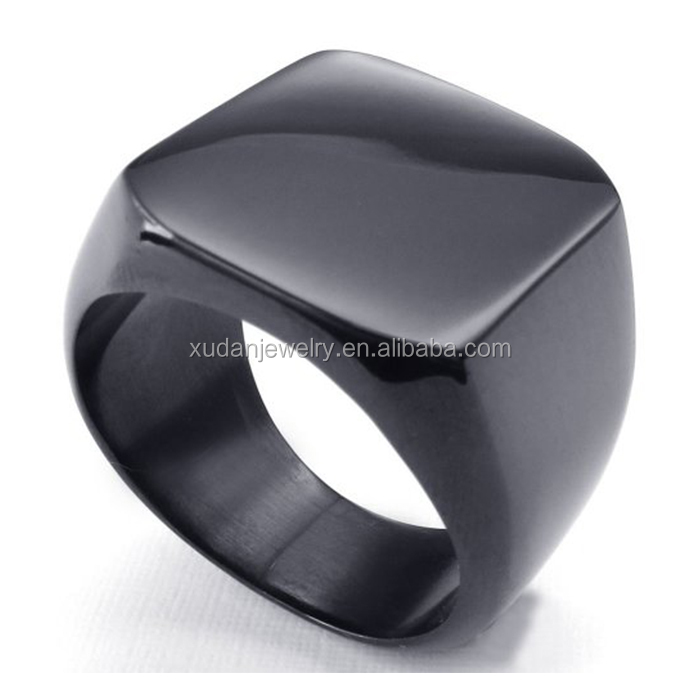 Custom Mens Bike Ring High Polished Stainless Steel Ring, Signet Rings, Black Ring