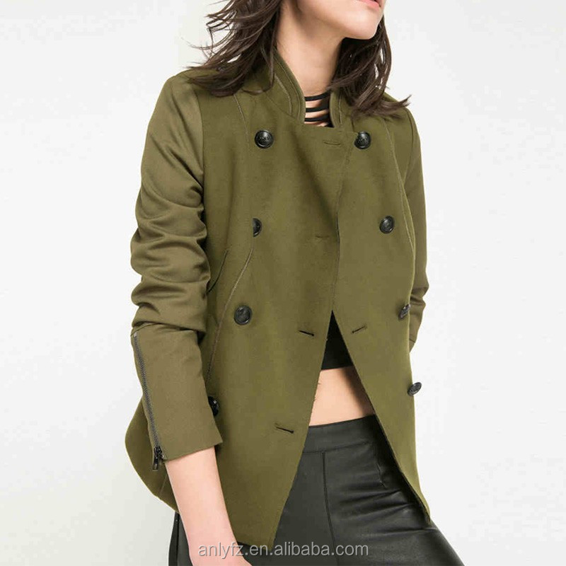 2016 spring latest slim fitted retro British style double breasted jacket coat for women