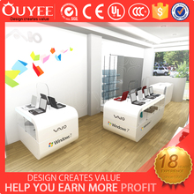 Fashion mobile phone store decoration with free standing digital display