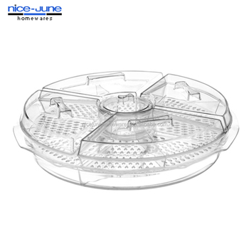 Plastic Serving Tray With 4 Compartments Acrylic Food On Ice