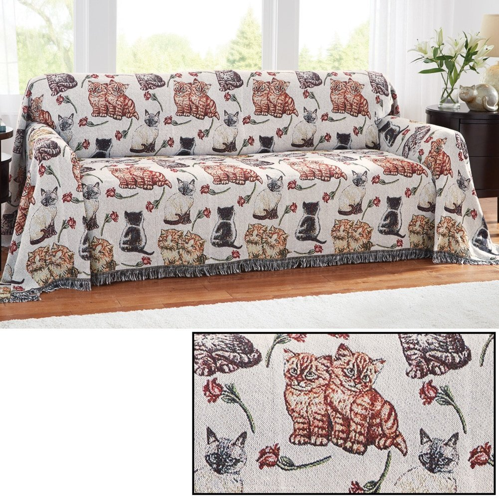Miraculous Cat Tapestry Sofa Furniture Cover Sofa Cats Kittens Polyester Polyester Blend Pabps2019 Chair Design Images Pabps2019Com