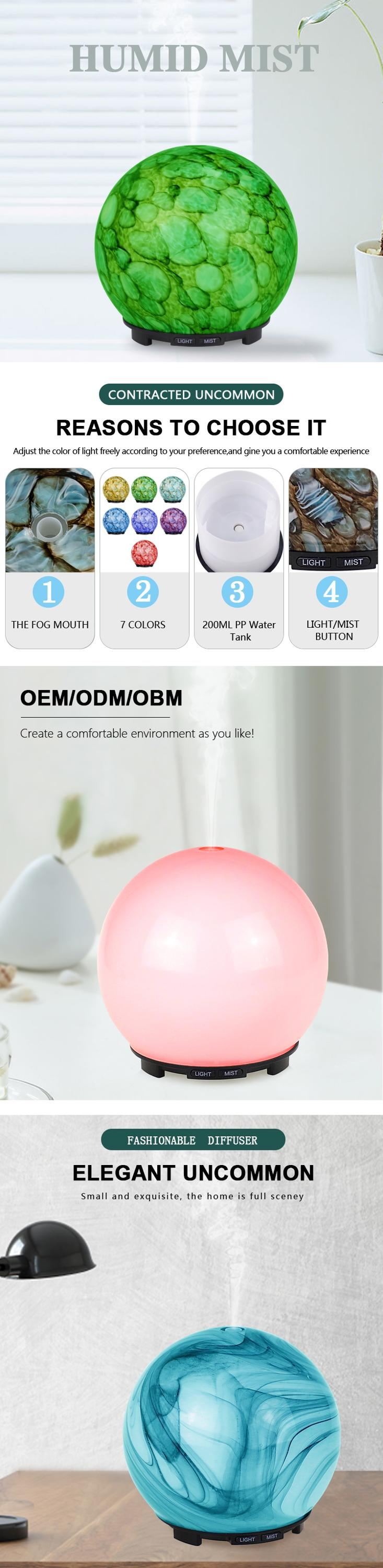 200ml colored glass cool mist humidifier essential oil diffuser