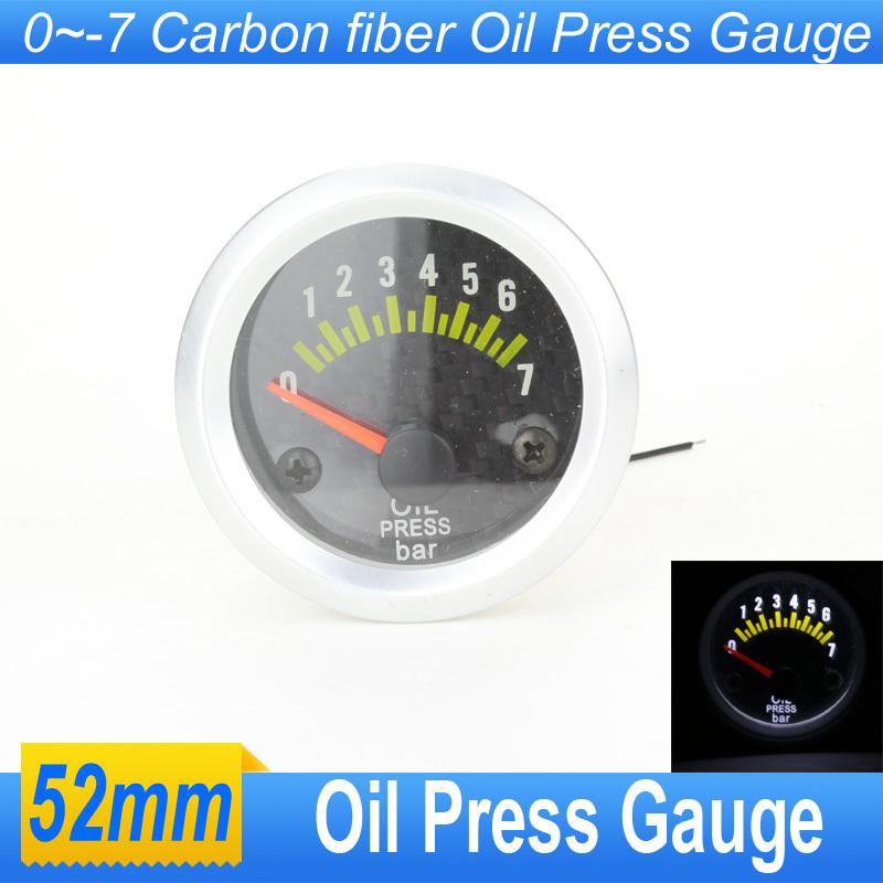 Универсальная автомобильная давления масла датчик метр 52 мм углеродного волокна давления масла метр с датчиком автоматический измерительный прибор белое из светодиодов автомобиль нефть пресс манометр