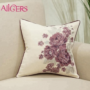 Avigers cotton purple flower picasso back cushion covers with invisible zipper
