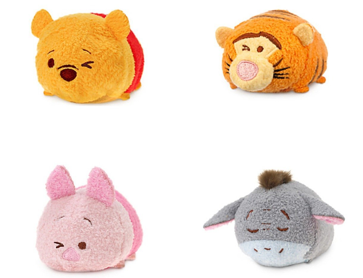 Disney Store Winnie The Pooh Tsum Tsum Set of 4 each 3 1/2 Tigger Piglet Eeyore New Expressions
