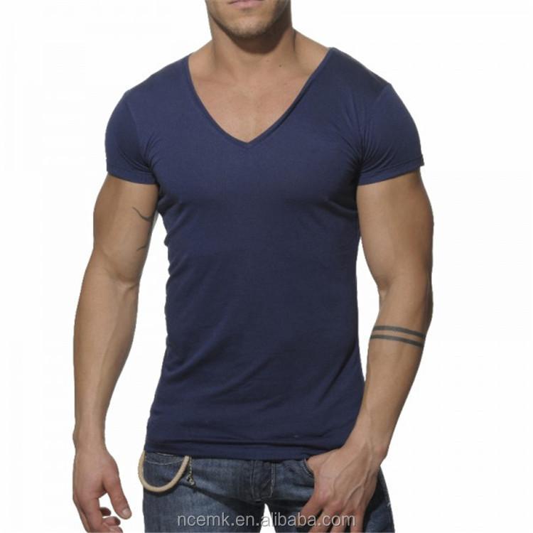 49419134ca Azul oscuro con diseño sencillo básica V cuello 1 dólar camisetas para los  hombres