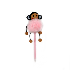 custom shape cartoon figure kids fancy monkey feather fluffy novelty plastic ballpoint pen