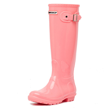 Hotsales Dripdrop Wellington Ladies Tall Rain Boots Red Shiny PVC Rain Boots