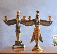 Resin egyptian statues home goods antique 3 tier candle holder